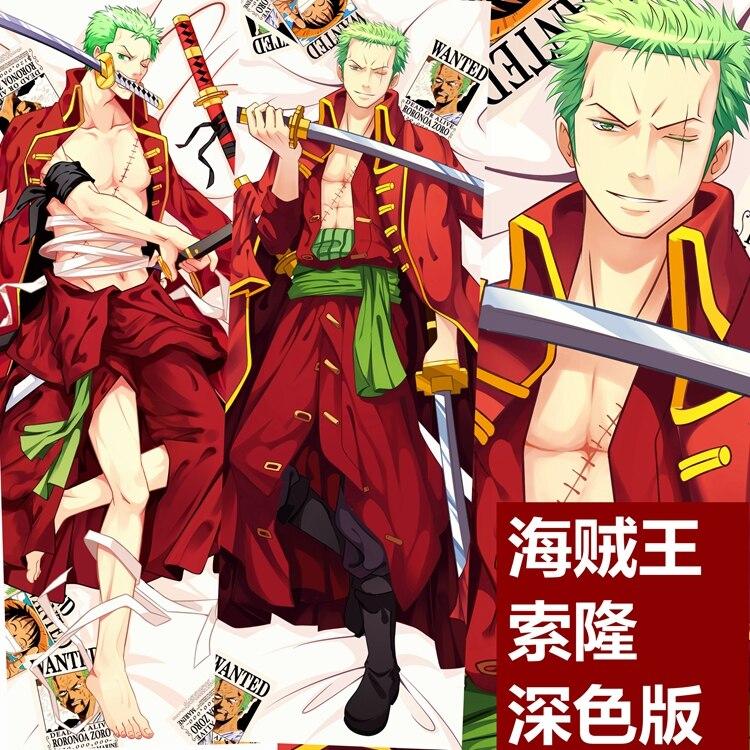 "59/"" Anime One Piece Dakimakura Roronoa Zoro Luffy Hugging Body Pillow Case Cover"