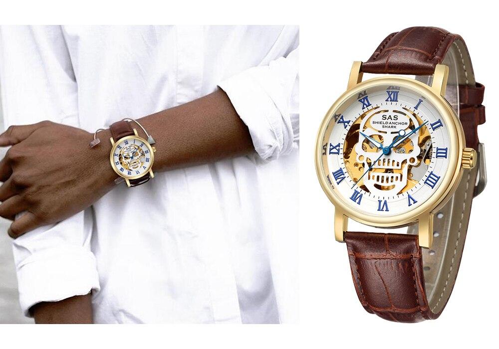 Homens relógio Esqueleto Mecânico Automático Relógio de