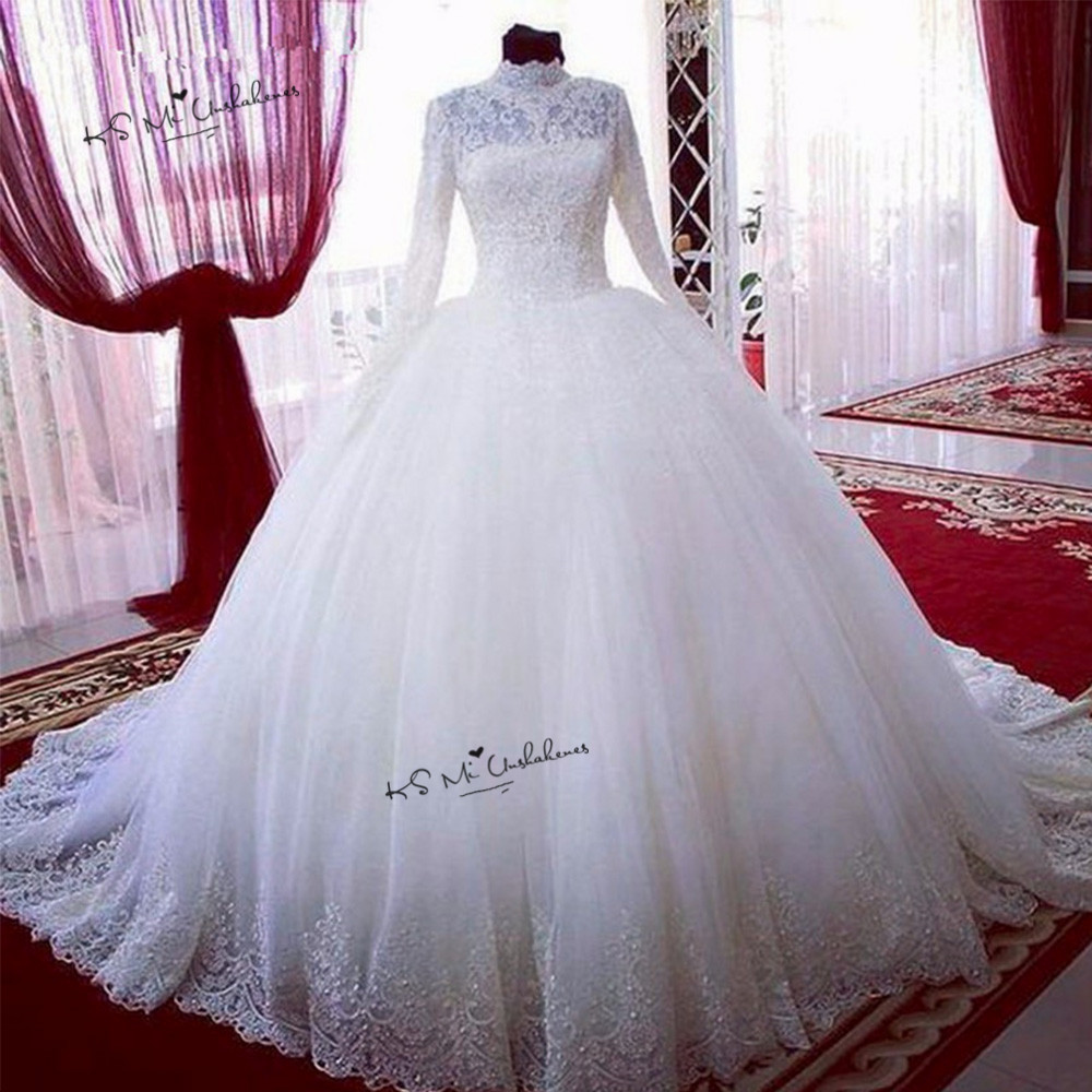 Puffy Long Sleeve Lace Wedding Dresses Ball Gown High Neck