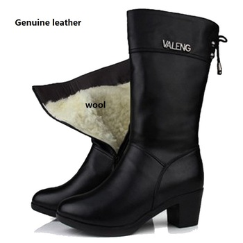 Nice Ladies Winter Warm shoes, Women Shoes Genuine Leather shoes, Medium Heel shoes, Lady Boots Cotton Plush sheep,
