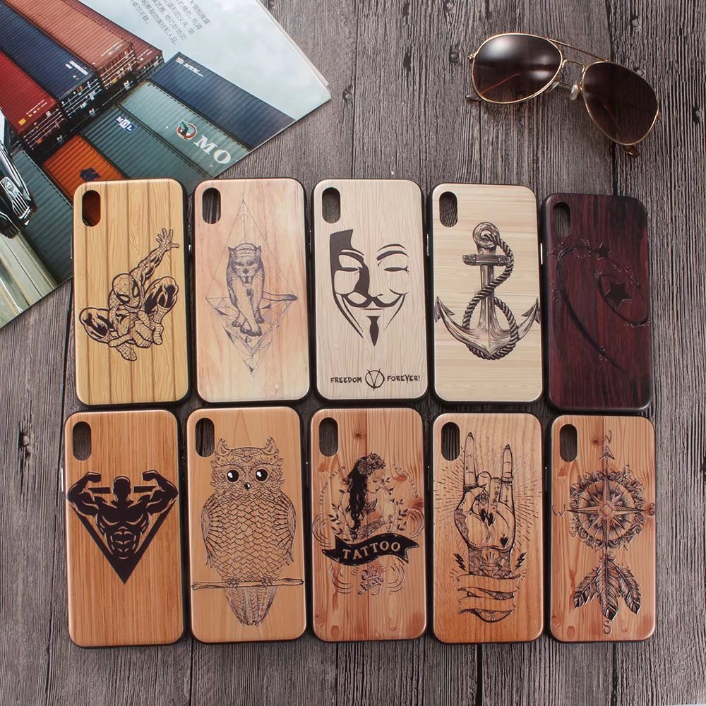 For iphone 6 6s 7 8 plus Case Luxury Wood Carving Totem Spider-Man Cover for Phone 7 Maiden Iron Man for Phone X Wolf Cases