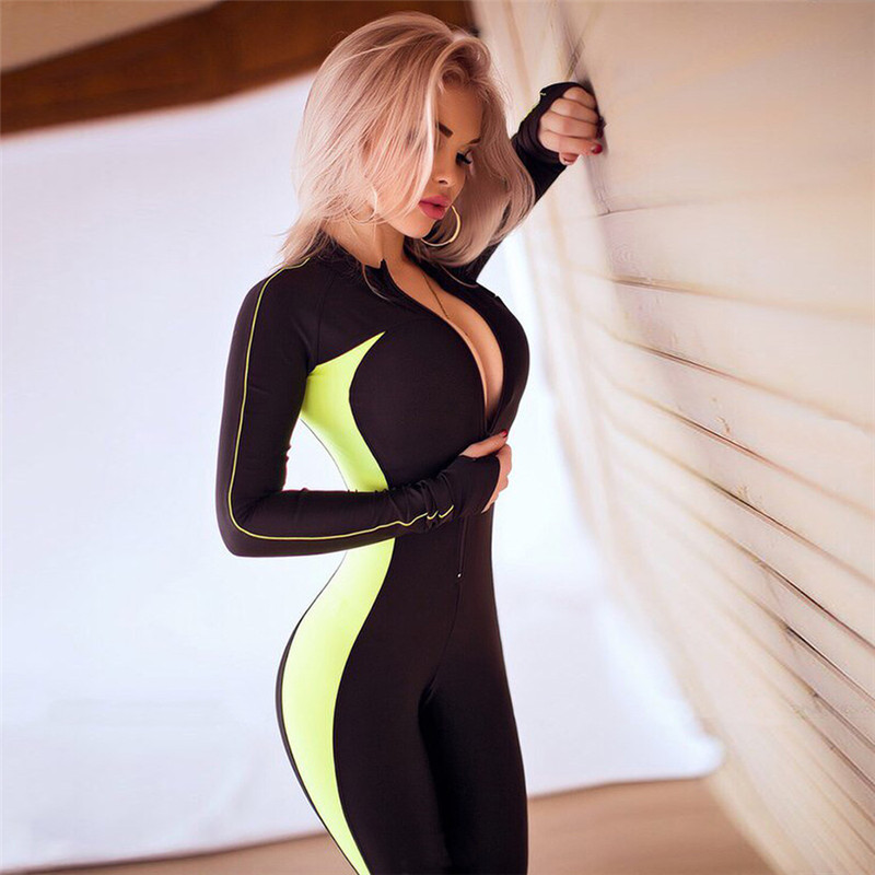 Women Sport Suit Female Yoga Set Workout Gym Wear Running Clothing Tracksuit Sexy Ensemble Sportswear Zipper Jumpsuits Fitness