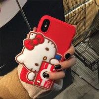 Nuovo 3D Cute Cartoon Orso Macchina Fotografica Ciao Kitty Morbido Silicone Alloggiamento Del Telefono Mobile Per iPhone6 6 S 6 Plus Guscio Protettivo Coque Funda