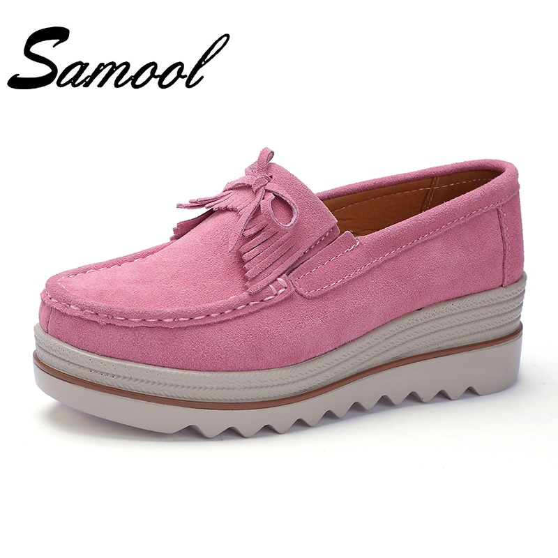 Spring Autumn Women Flats Shoes Platform Sneakers Shoes Leather Suede Casual Shoes Slip on Flats Heels Creepers Moccasins Gx3 genuine suede leather women s platform sneakers 2018 women slip on flats creepers moccasins woman casual shoes black pink gray