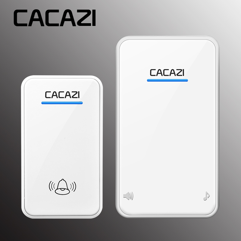 CACAZI White / Black Long Range Wireless Doorbell DC Battery Operated 300 M Remote Control Doorbell Rings 6 Volume Door Chime 48 niko white black font 1 volume