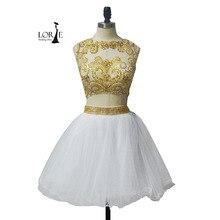 Kurze Weiße Graduierung kleid Gold Strass Eine Linie Zwei Stück Prom Gows Homecoming Party Kleider vestido de festa curto de luxo