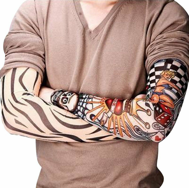 Unisex UV Protection General Outdoor Temporary Fake Tattoo Arm Sleeve Men Tatoo Arm Warmer For Driving Running Fishing Cycling