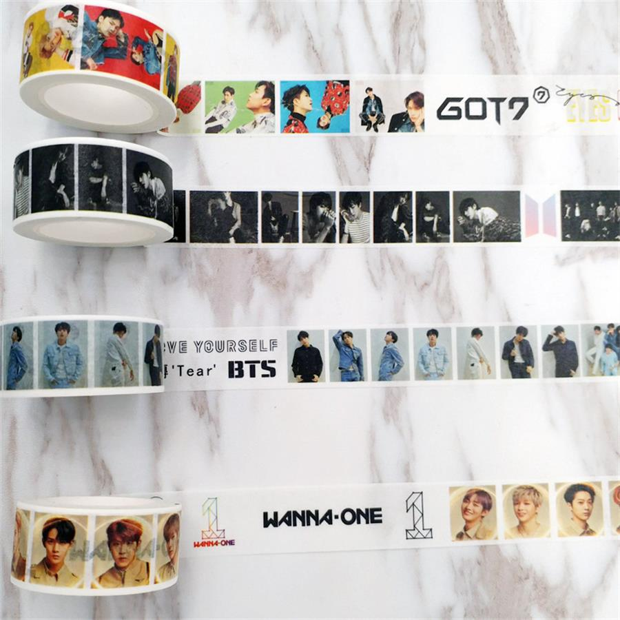 Smart Kpop Bts Love Yourself Tear Washi Tape Wanna One Got7 Paper Masking Scrapbook Sticker Diy Good For Antipyretic And Throat Soother Jewelry & Accessories