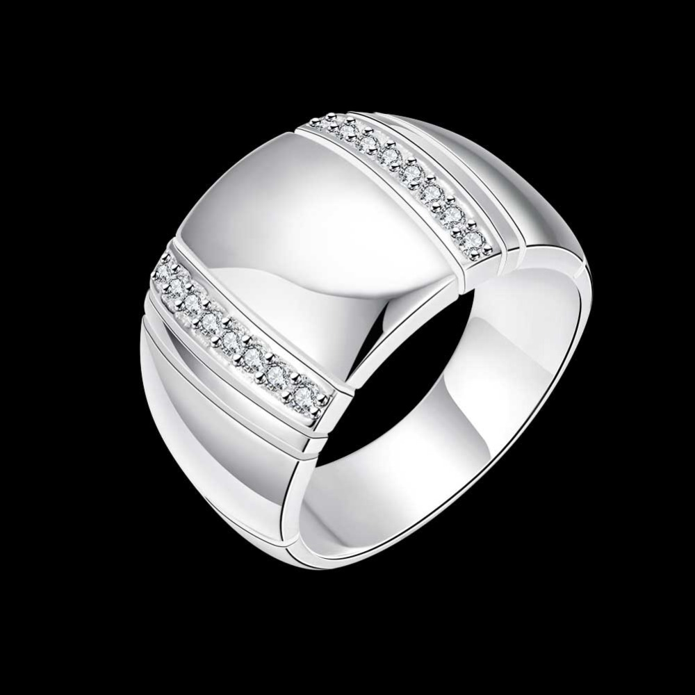 <font><b>925</b></font> <font><b>Sterling</b></font> <font><b>Silver</b></font> Woman/ Man Lover's <font><b>Ring</b></font> CZ Crystal Wedding Engagement Wholesale Fashion Finger <font><b>Rings</b></font> Jewelry image
