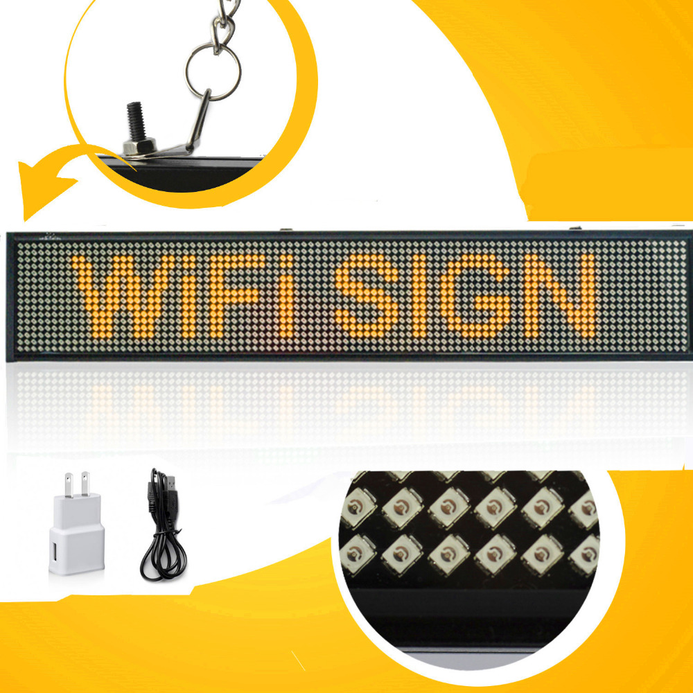 Yellow P5 SMD Led Sign For Android Phone WIFI Remote Control Programmable Scrolling Message LED Display Board For Business bus video led sign p5 flashing led route sign in china
