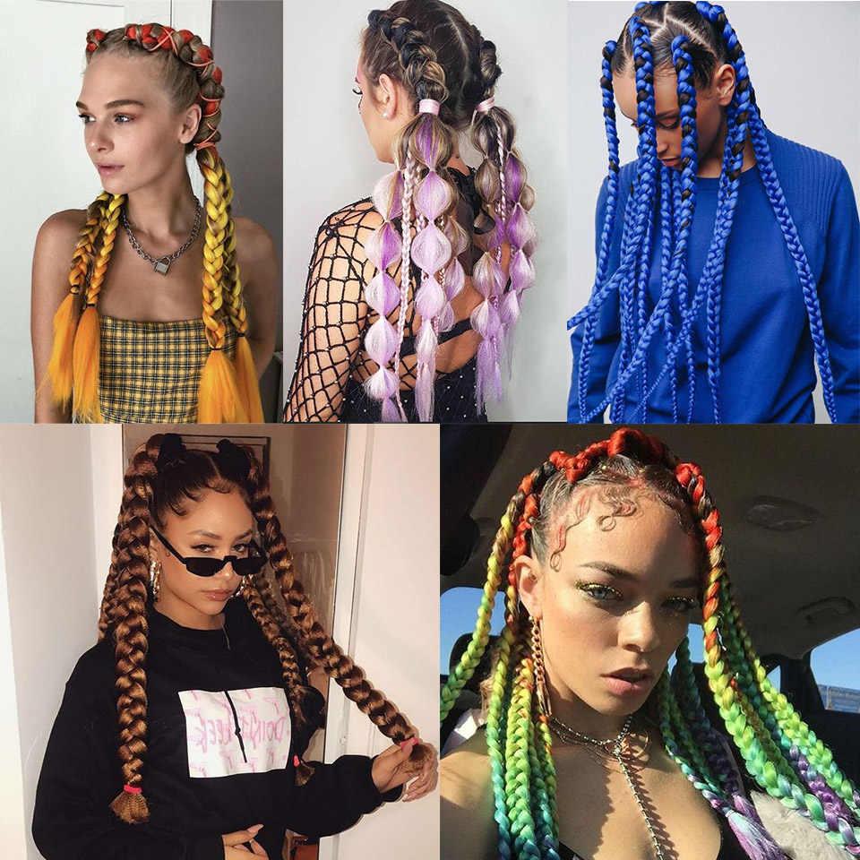 YYOUFU 24 дюйма 100 г/упак. синтетические Омбре плетение волос крючком Джамбо оплетки для наращивания волос предварительно растянутые белые женские фиолетовые синие