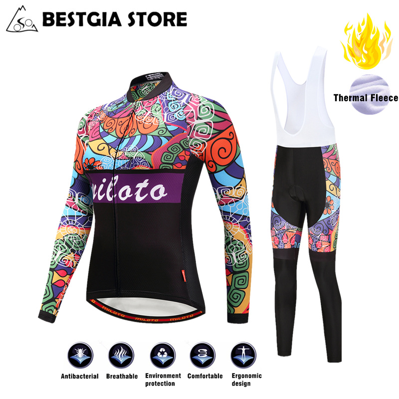 2017 Pro Team Winter Fleece Cycling Jersey Sets Bicycle Long Sleeve Jerseys With Bib Pants Set Bike Sports Maillot Ropa Clothing nuckily quick dry anti uv long sleeve bicycle jerseys sets windproof cycling clothing gel padds bike pants cycling jerseys sets