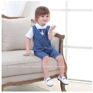Image 5 - Blue Dot Baby Boys Rompers Tuxedo Gentleman Costume Baby Jumpsuits Jacket Vest Cotton Boy Clothes Outfits Newborn Evening Dress