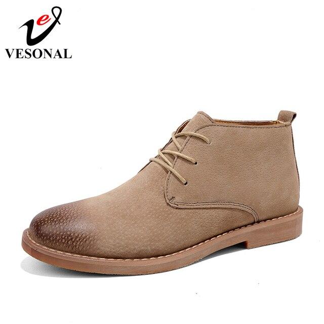 VESONAL ยี่ห้อแฟชั่น Cow Suede ข้อเท้ารองเท้ารองเท้าชายรองเท้าผู้ชาย 2018 ใหม่ฤดูใบไม้ร่วงผู้ใหญ่ Casual Vintage Martin Boots การออกแบบ