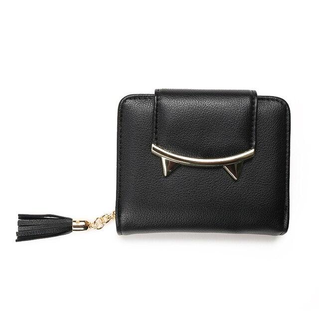 2017 fashion tassels style cute Women Short Wallet with Metal Hasp Lock female Change Purse multi Card Holder Girls Clutch