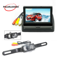 Optional Backup Rearview Camera For Vehicle Parking Assistance TFT Auto Mirror Monitor 4.3 Inch Foldable HD LCD