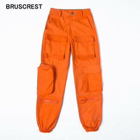 Vintage ladies black cargo pants women pockets loose pants joggers baggy trousers women korean streetwear