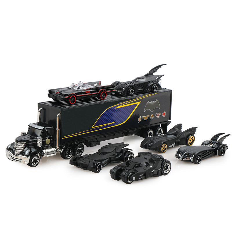 7pcs/set diecast cars 3:169 batman truck model classic cars toy vehicles gift for boy as christmas new years gift