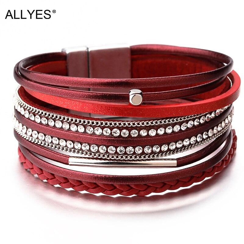Les femmes Gradient Marron Multi-couche en cuir bracelet de charme Cuff Wrap Bracelet Bijoux