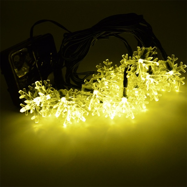 Outdoor Wedding Christmas LED Bulb Solar String Light 20Led Snowflake shape Lighting Colorful Lights Wire String