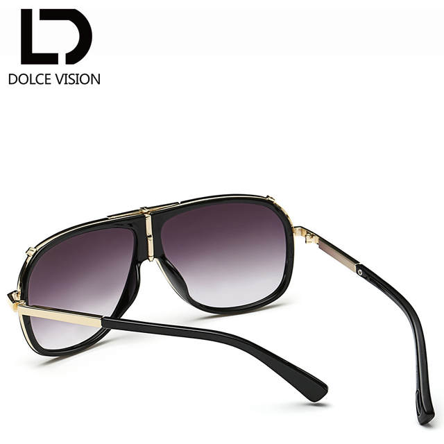 06dcbda1e5c DOLCE VISION Luxury Male Pilot Sunglasses Fashion Brand Designer Ovresize Sun  Glasses For Men 2018 Black