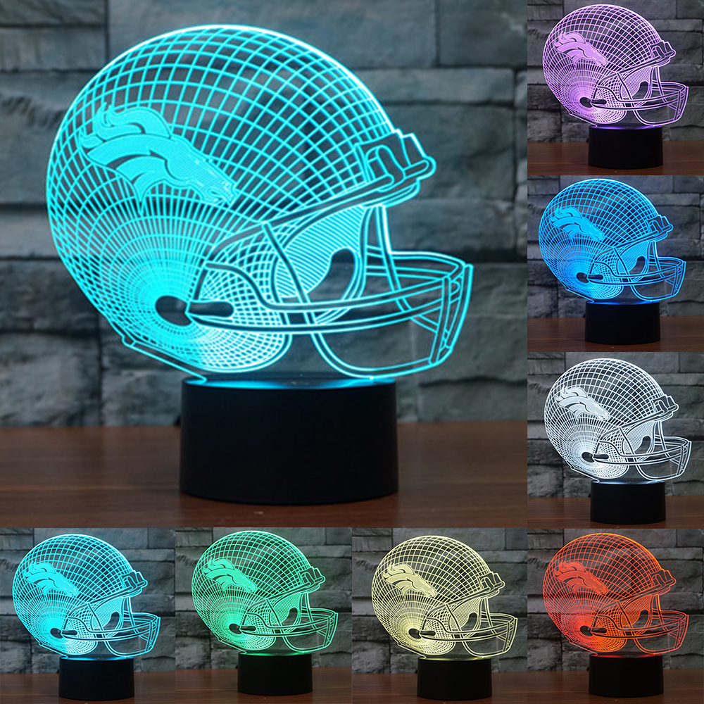 NFL Denver Broncos 3D Night Light 7 color changing acrylic USB table desk Lamp touch switch nightlight as gift for kids IY803661