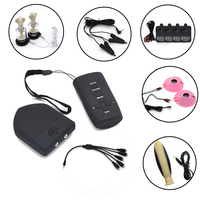 Wireless Remote Control Electro Shock Host Electric Stimulation Nipple Clamps Sucker Silicone Anal Plug Medical Themed Sex Toys