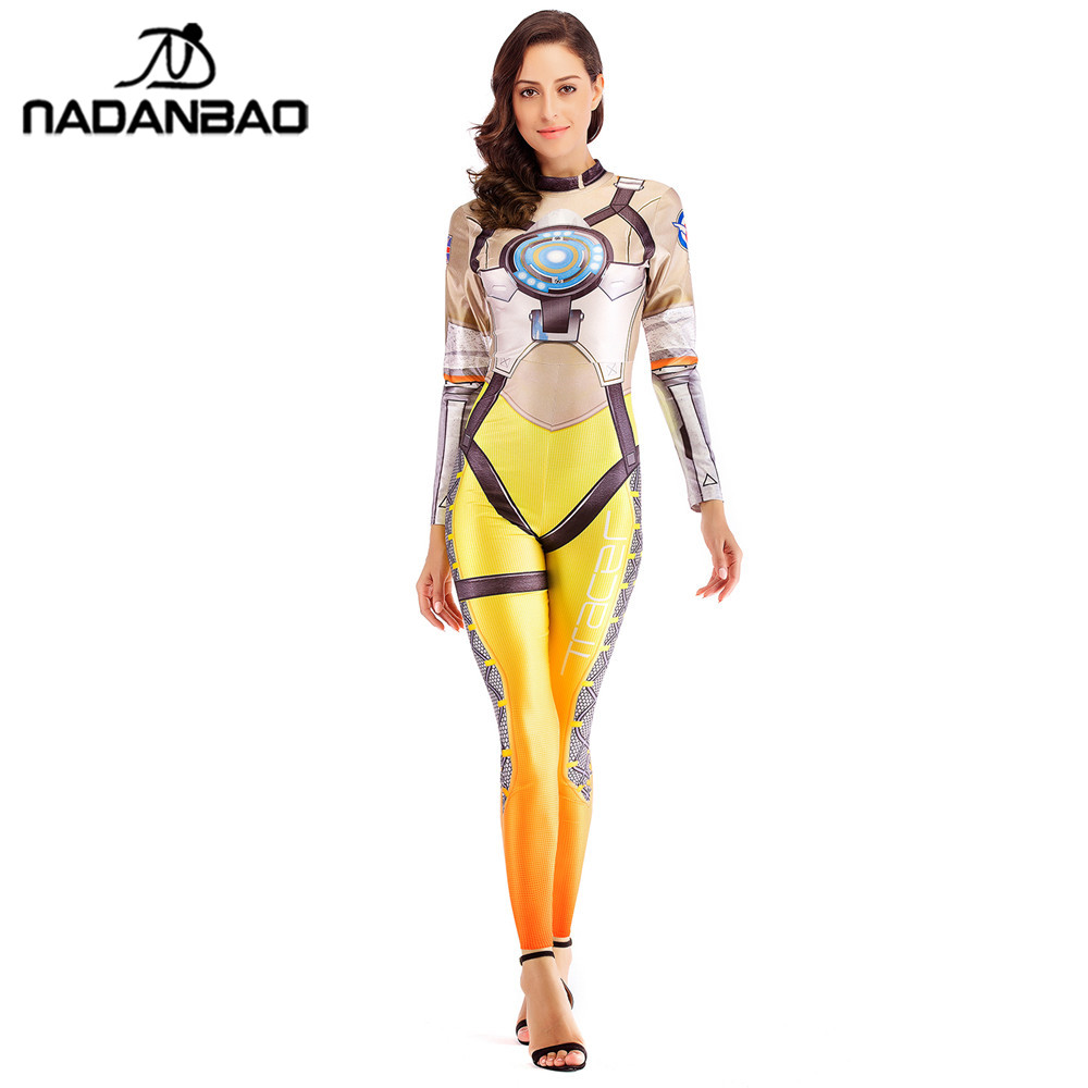 NADANBAO OW Hero Tracer Costume Cosplay font b Anime b font Bodysuit Halloween Costumes For Women
