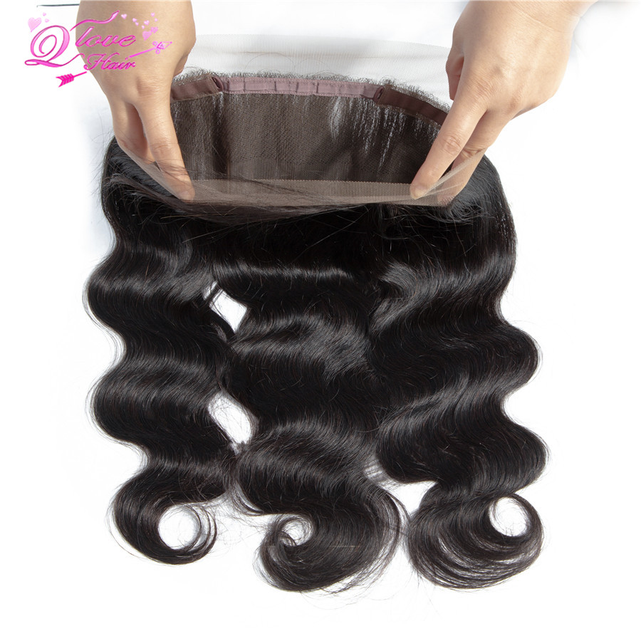 Queen Love Hair 360 Lace Frontal Closure Remy Hair Brazilian Natural Color Body Wave Human Hair Closure For Black Women Hair