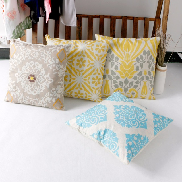 Hot Vintage Geometric Flower Cotton Linen Throw Pillow Cover Case Back Cushion Cases Home Hotel Office 8-Pattern 45 x 45cm C42