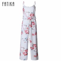 FATIKA 2017 Women Floral Printed Sleeveless Jumpsuits Ladies O Neck Spaghetti Strap Off Shoulder Long Summer