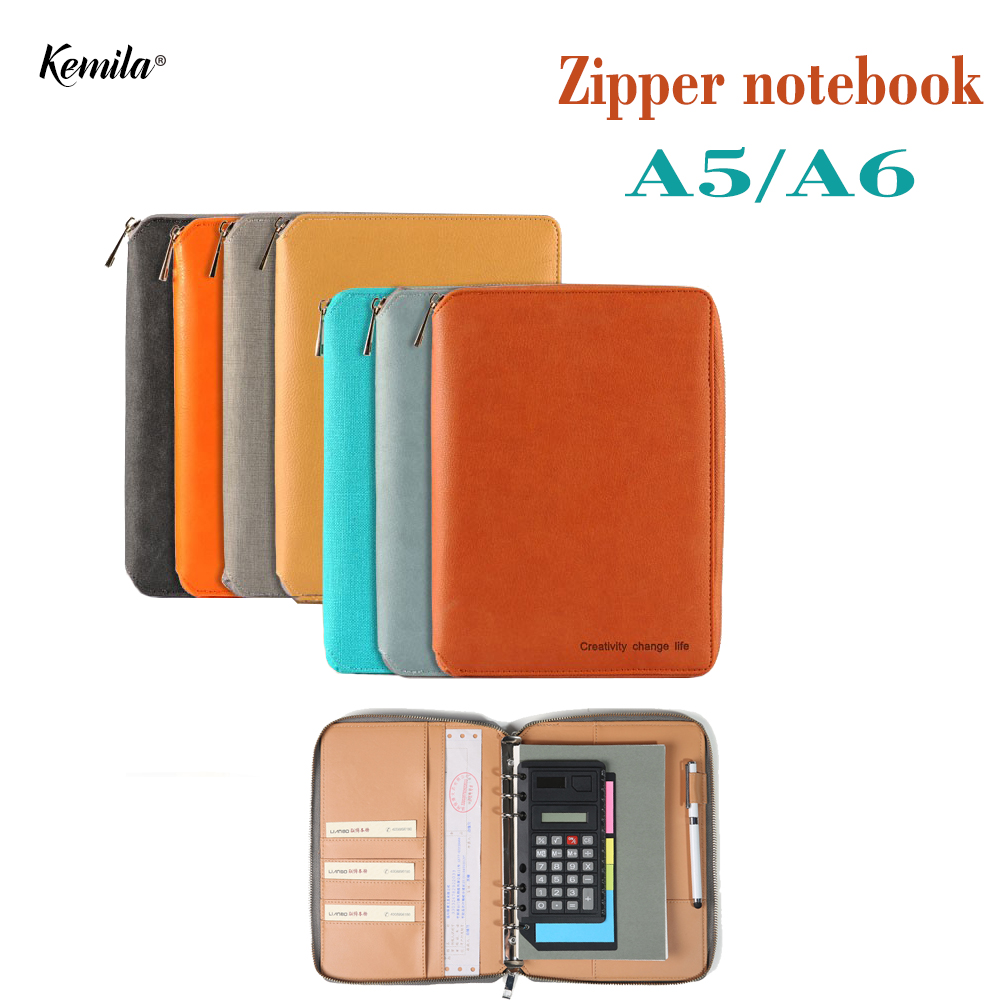 Kemila Portable A5 A6 Leather Notebook Binder Spiral