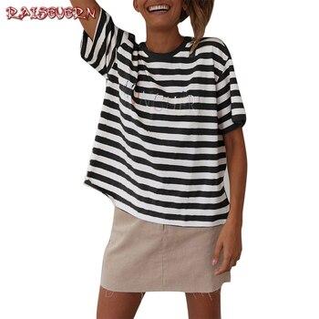 2c58f0c34 RAISEVERN Vintage despojado T camisa nueva ropa de moda para las mujeres  verano Tops carta 90 bebé impreso camiseta Harajuku Streetwear