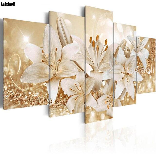 Peinture diamant lys et fleurs, image modulaire, broderie complète 5D, perles carrées ou rondes, bricolage même, mosaïque, strass, décoration, 5 pièces