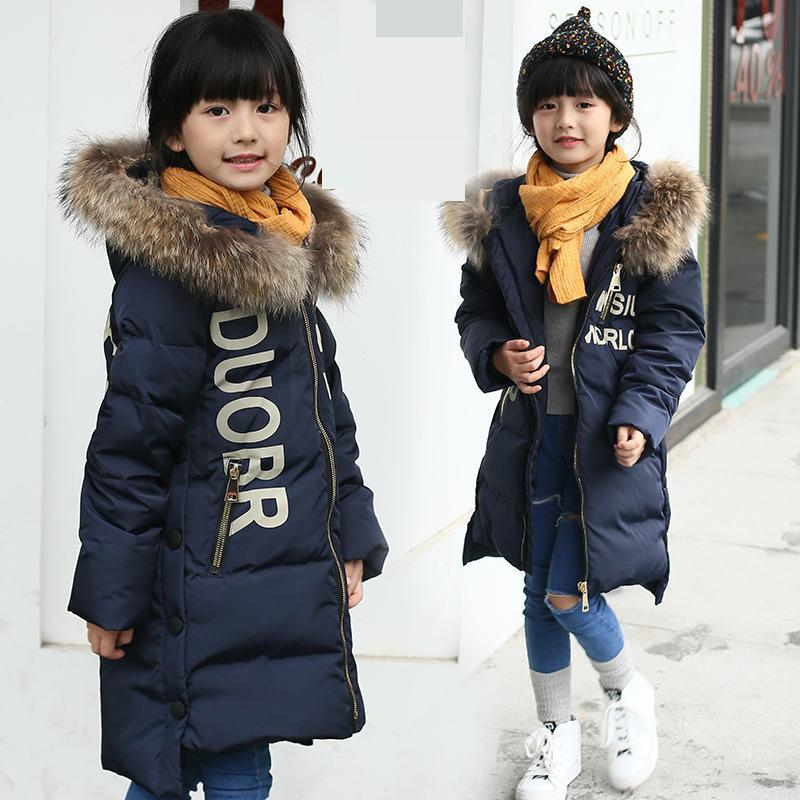 2017 New Girls Long Down Jacket For Kids Cold Winter Fur Collar Hooded Thick Coat 80% White Duck Down Children Outerwear Clothes russia winter boys girls down jacket boy girl warm thick duck down