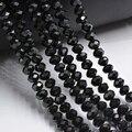 Черный 3*4 мм граненый кристалл круглый бисер Cristal граненый красивые, прозрачные нанизанные бусины DIY компоненты для рукоделия  - фото