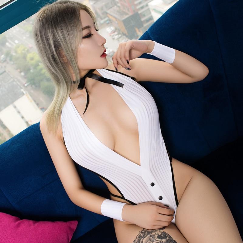 Sexy Deep V Neck Stripe High Cut Bodysuit Transparent Backless Halter One Piece Swimwear Body Suit Erotic Lingerie F11