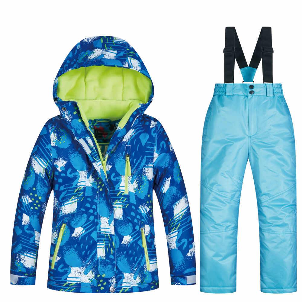 Kayak ceket ve pantolon çocuk marka yüksek kaliteli çocuk rüzgar geçirmez su geçirmez kar takım elbise kış erkek kayak ve Snowboard ceketler
