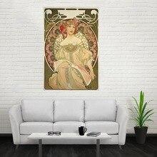 Nice New Alphonse Mucha 01 Poster Custom Canvas Poster Art Home Decoration Cloth Fabric Wall Poster Print Silk Fabric Print