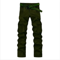 Hot Straight Men's Loose Zipper Fly Multi-Pocket Cargo Pants Full-Length Plus Size Urban Outdoors Tooling Summer Casual Trousers