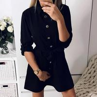 2018 Women Causal Shirt Dresses Turn Down Collar Mini Robe Elegant Female Shift Vestido De Festa