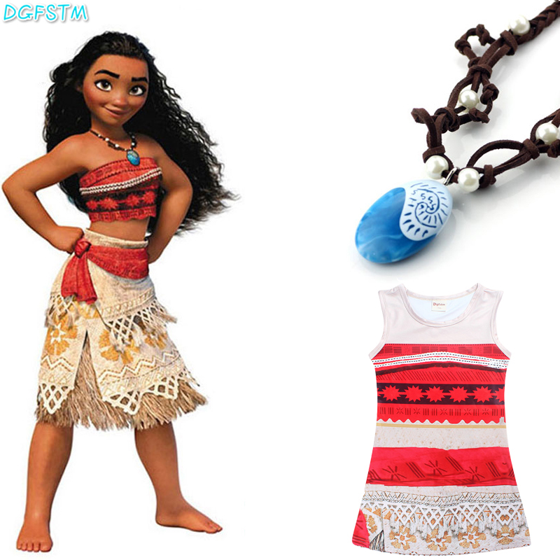 Princess Moana Cosplay Dress for Children Moana Costume with Necklace Halloween Christmas Costumes for Kids Girls Vaiana Gift