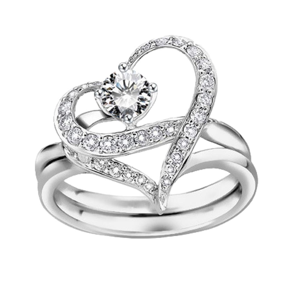 Lady Silver color The Crystal Design Wedding Double Heart Couple Party Exaggerated Rings Fashion Jewelry for women
