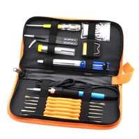 60 W 220 V Saldatura Elettrica Ferro Set Temperatura Regolabile Saldatura Tool Kit di Riparazione con 5 Punte di Saldatura Saldatura A Filo di Pinzette spina di UE