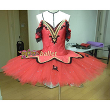 Red Black Pancake Plate Professional Ballet Tutus Women Don Quixote Variation Competition Classical Ballet Costume Dress