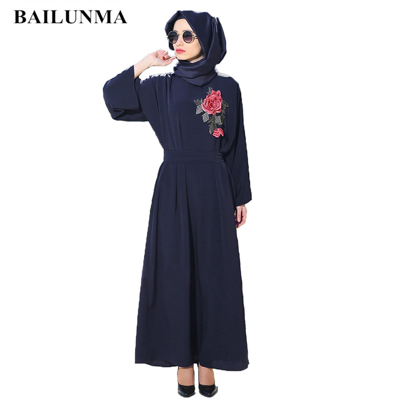 Muslim Dress Chiffon Islamic Clothing Abayas For Women Black Abaya B8066