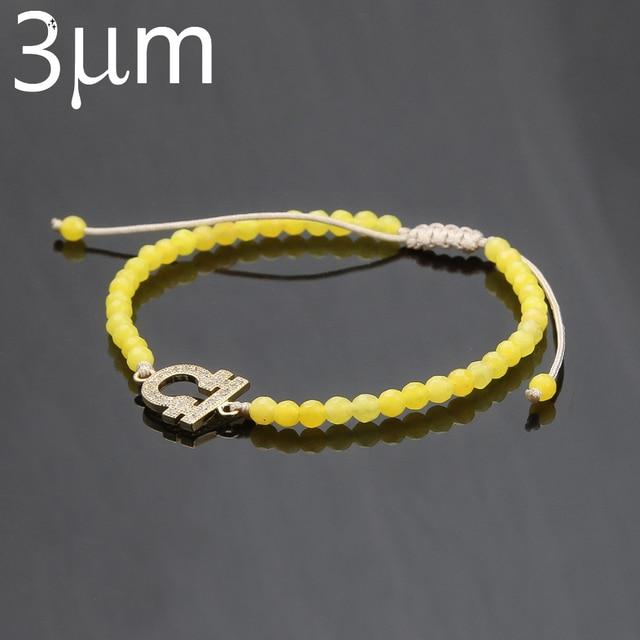 3um Zodiac Bracelet Custom 12 Sign Yellow Stone Copper Venus Knit Adjule For Women
