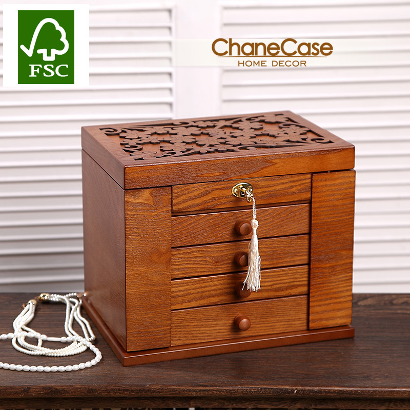 LUXURY Jewelry box wood Storage case Jewel organizer display Jewelry Packaging Box Casket Box for girls birthday gift
