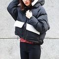 Moletom Com Capuz Grosso Parka Jaqueta de inverno para As Mulheres Solto Casaco De Neve Quente Curto Preto