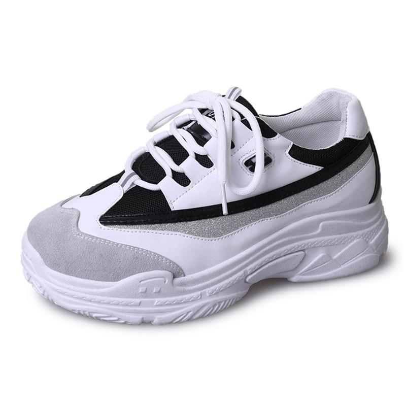 Casuales Mujeres White Zapatos Zapatillas Primavera Plataforma 2019 Señoras Cuero Chaussure Femme De Grueso Blanco Las Moda black Deporte XawIffHnqY